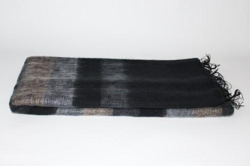 Yak Wool Shawl Stripe Black Grey Color