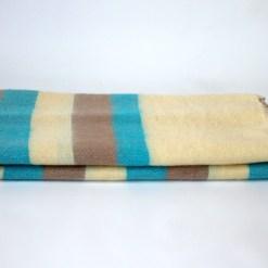Yak Wool Shawl Stripe Off White Blue Color