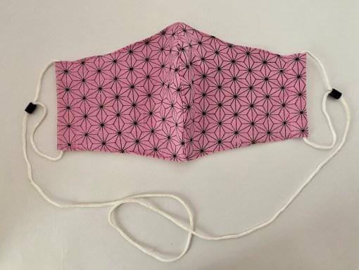 Asanoha Pink Cotton Face Mask 1