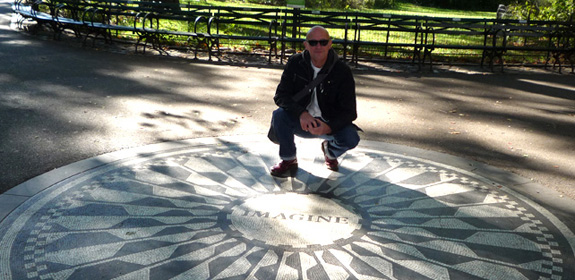 Frank J. Wilson pays homage at the John Lennon 'Imagine' monument