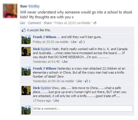 Connecticut US school massacre Facebook Conversation
