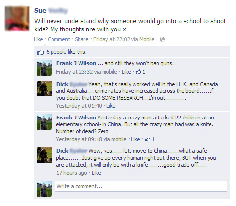 Connecticut US school massacre Facebook Conversation