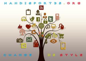 un arbre muni d'objets numériques illustre le changement