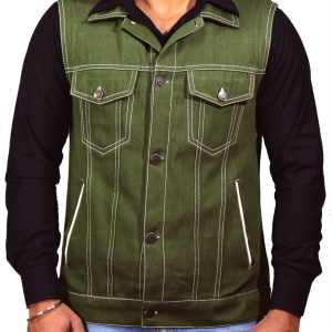 Eco-friendly Handloom Denim Sleeve-less Trucker Jacket for Men