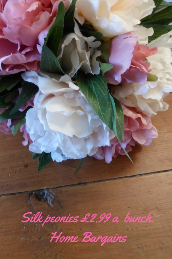 Silk peonies £2.99 a bunch. Home Bargains