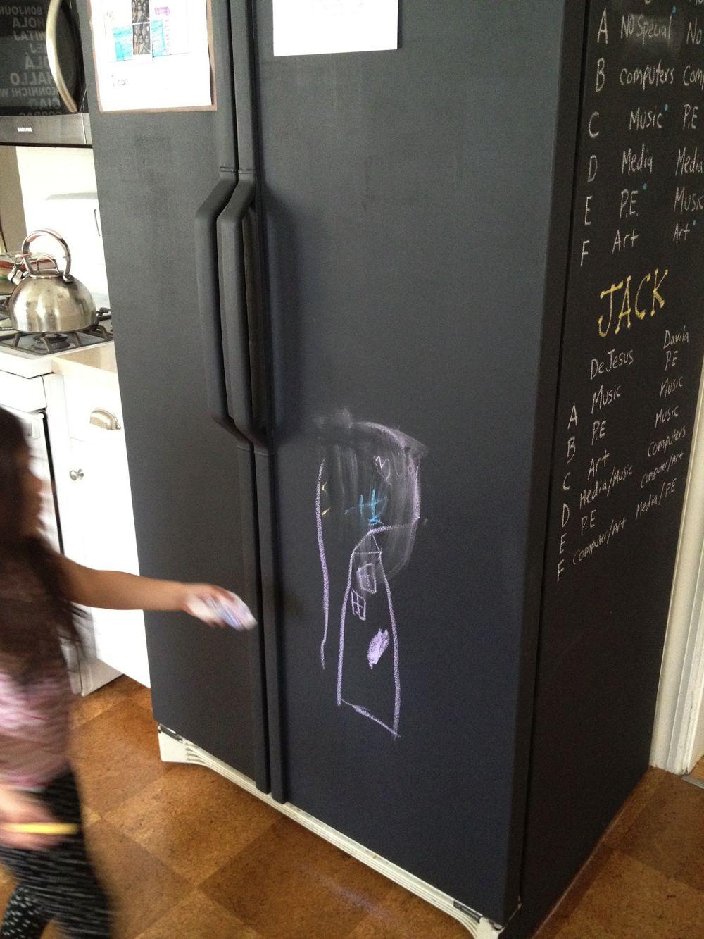 fridge painted with chalkboard paint lifehack