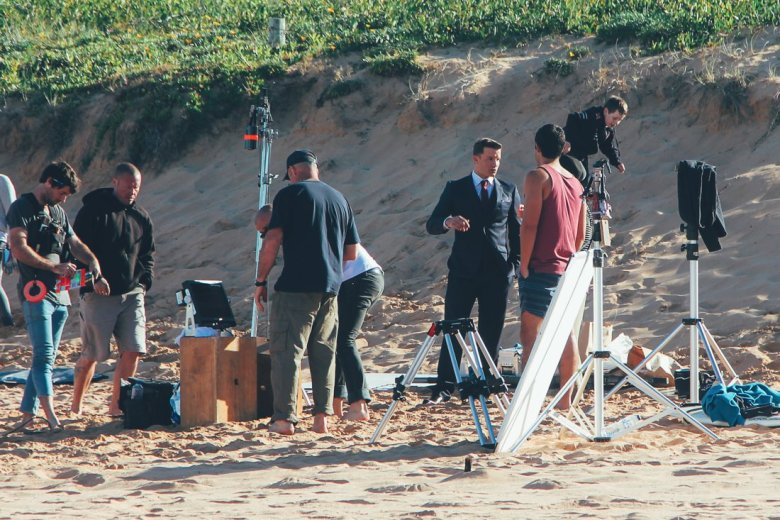Home and Away Cast and crew on the beach in Palm Beach, Sydney, Australia (2)