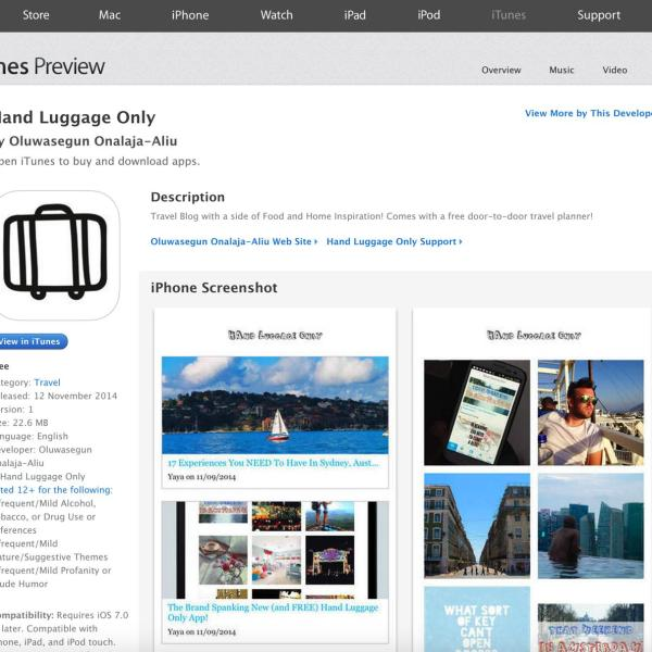 Hand Luggage Only Blog App on Itunes for iOS Apple iPhone