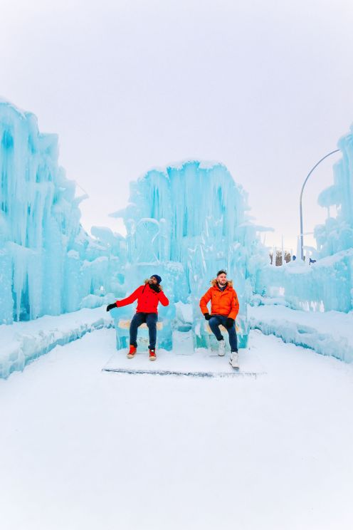 Fat Biking Across The Frozen River Valley To The Ice Castles Of Edmonton, Canada (56)