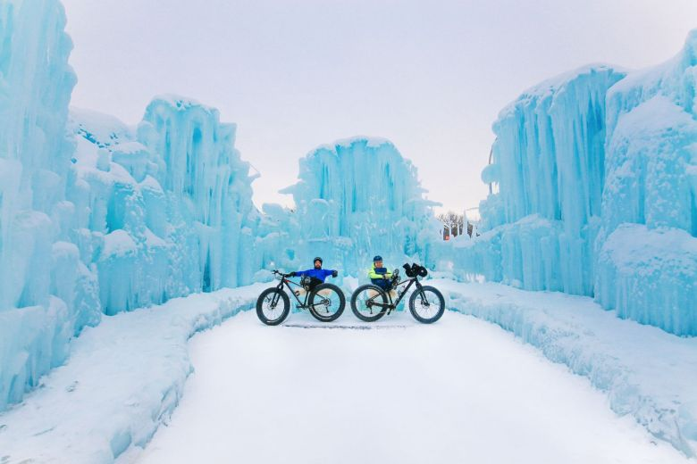 Fat Biking Across The Frozen River Valley To The Ice Castles Of Edmonton, Canada (59)