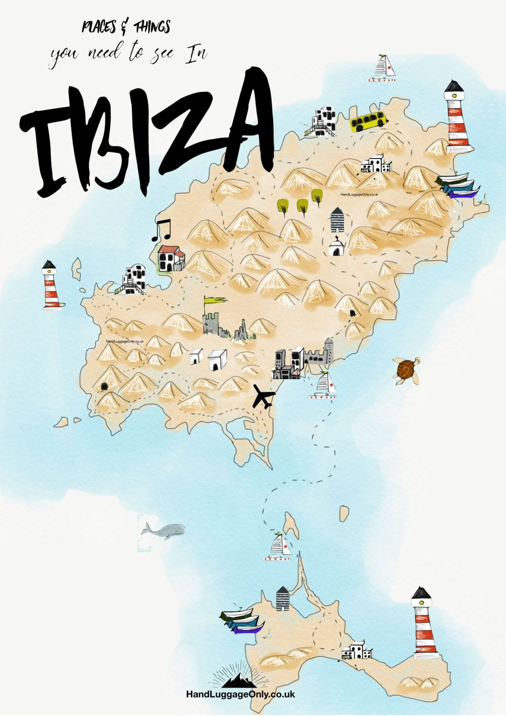 Ibiza Map Guide Plan Hand Luggage Only