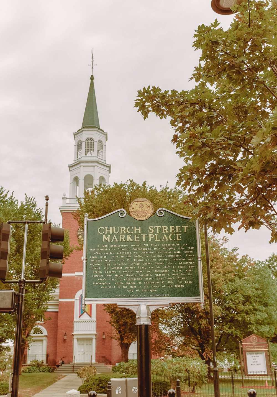 Church Street in Burlington In Vermont