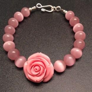 Pink Rose Flower Bracelet