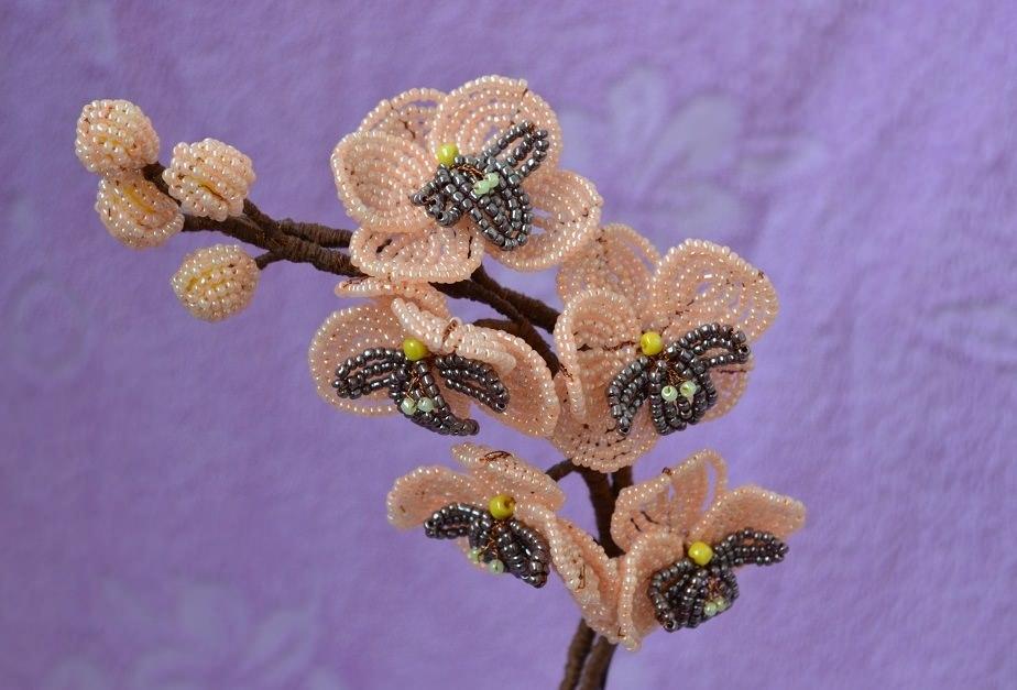 Орхидея из бисера мастер класс пошаговое фото