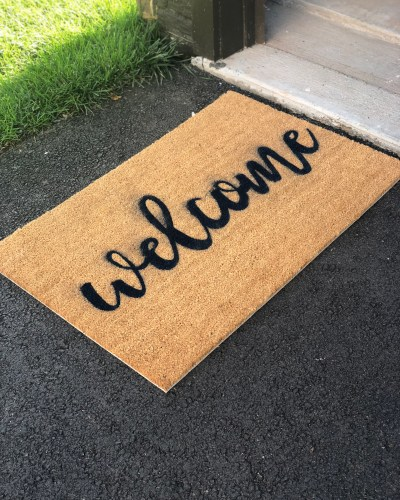 DIY Welcome Mat with Silhouette | At Home with Lara Liz