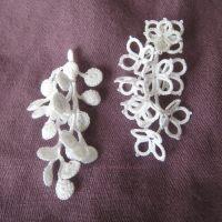 Tatted and crocheted earrings, korvikset käpypitsistä ja virkkaamalla