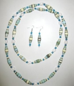 Turquoise blue jewelry from recycle paper