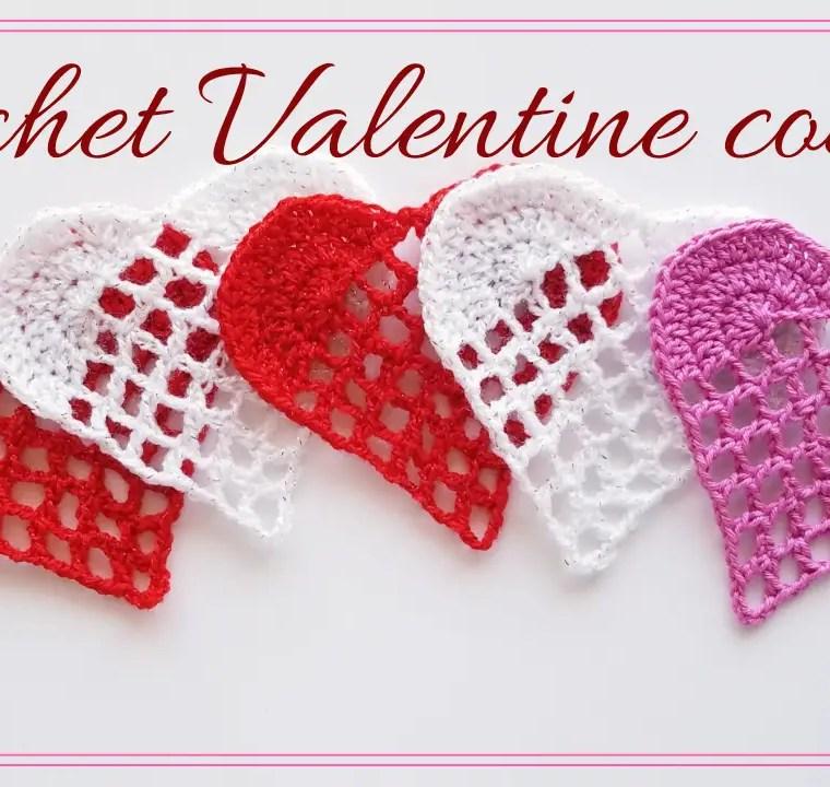 How to crochet Valentine coaster
