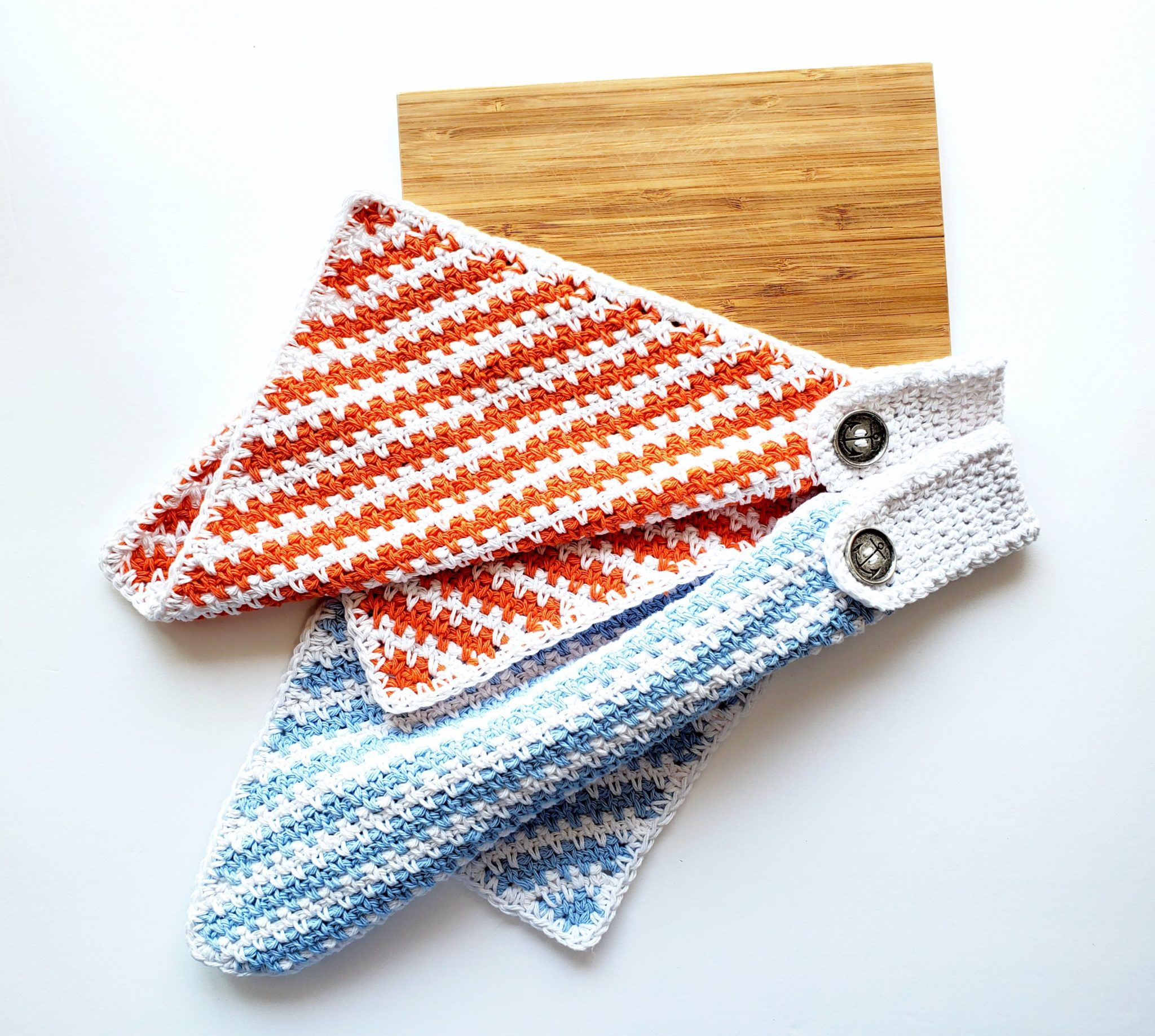 crochet nautical towel