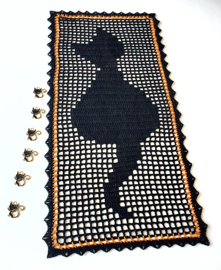 black cat table runner