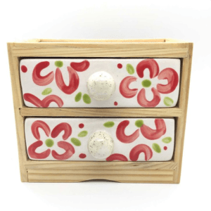 Handmade Jewellery Box Red Flower Ceramic Drawers