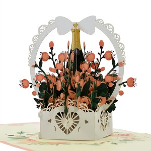 Greeting flower basket popup card