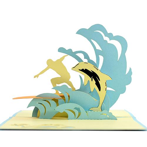 surfing man pop up card