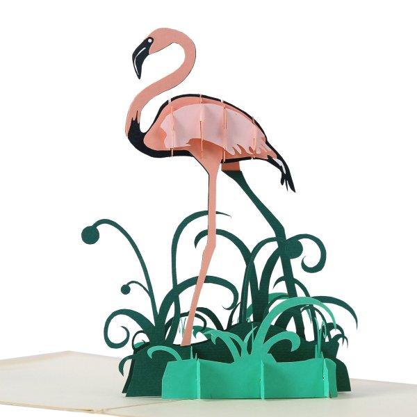 3D card flamingo