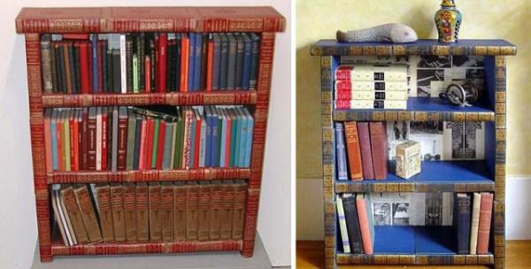 Дизайнерские книжные полки из книг   Фото