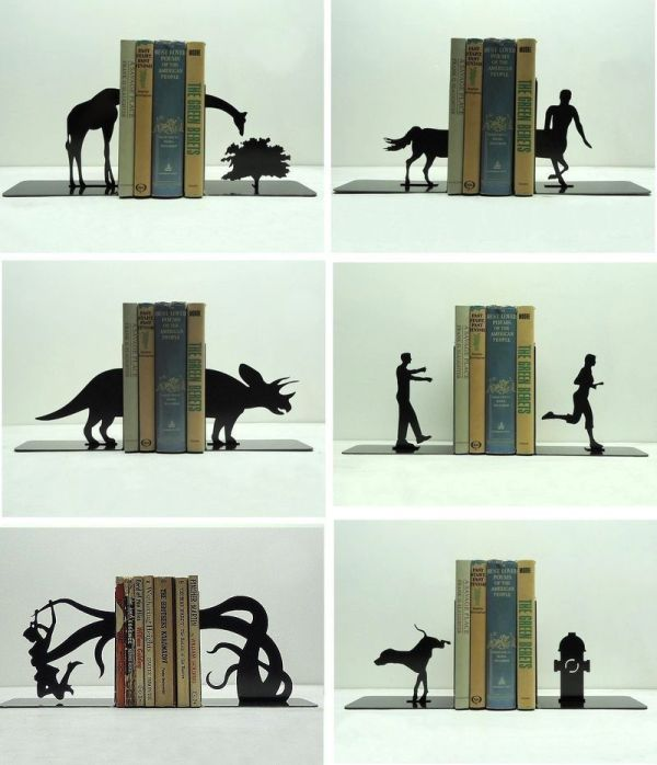 Интересные держатели для книг на полке | Фото