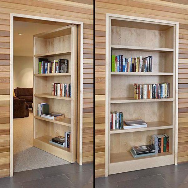 Скрытые межкомнатные двери за книжным шкафом | Фото