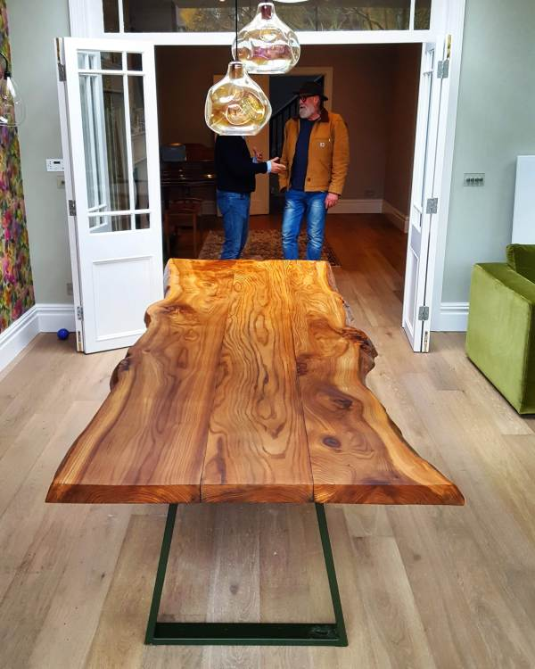 Sussex Elm live-edge dining table, Putney London