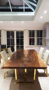 English Walnut live-edge dining table with polished Brass legs, Colchester