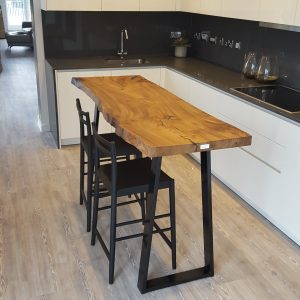 Elm single slab live-edge breakfast bar, Bath