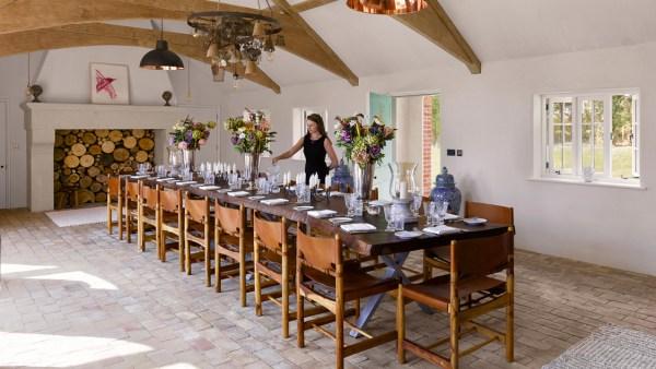Single slab American Walnut banqueting table, Suffolk