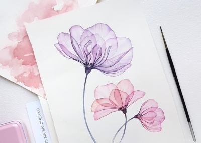 Water Colour Masterclass – Transparent Flowers with Kateryna Savchenko