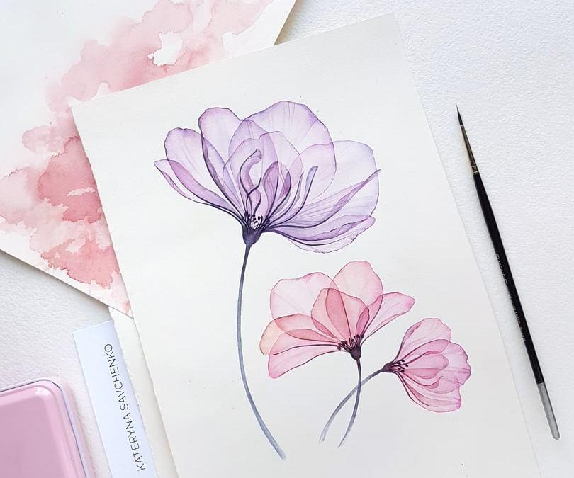 Water Colour Masterclass – Transparent Flowers with Kateryna Savchenko
