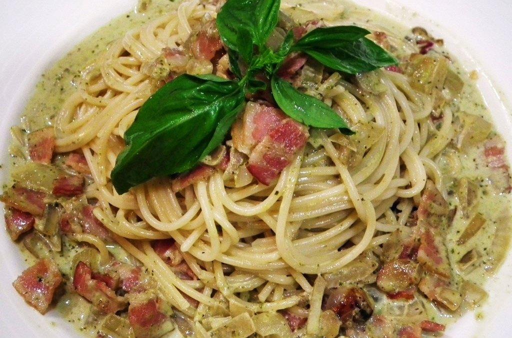(無添加食譜分享)青醬培根義大利麵