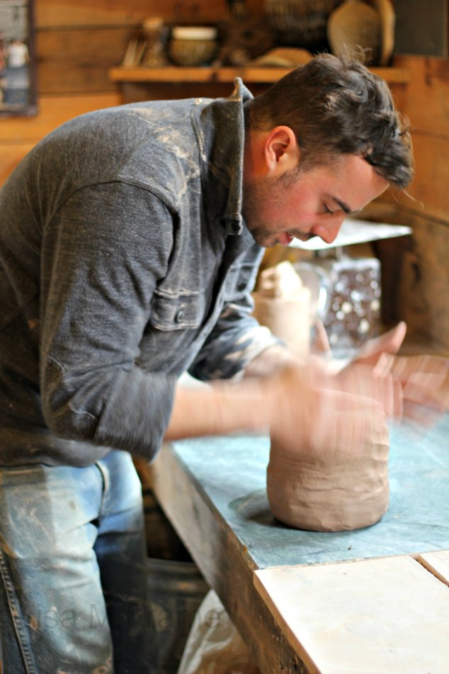 Alex Matisse prepping clay for throwing. www.handmadenc.com