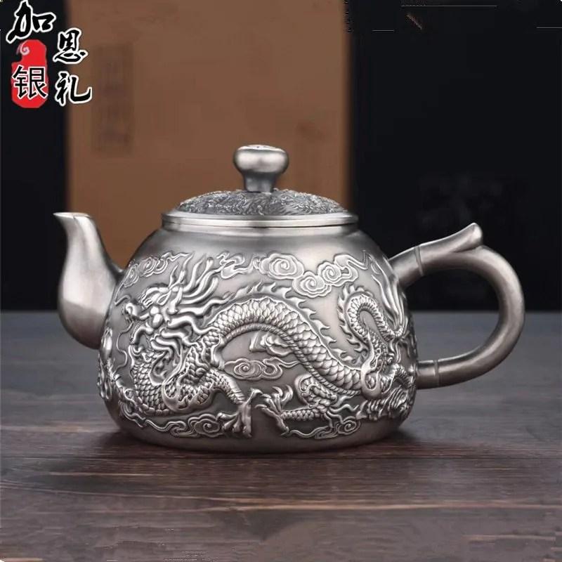 Elaborate Dragon Embossed Pure Silver Kung Fu Tea Set