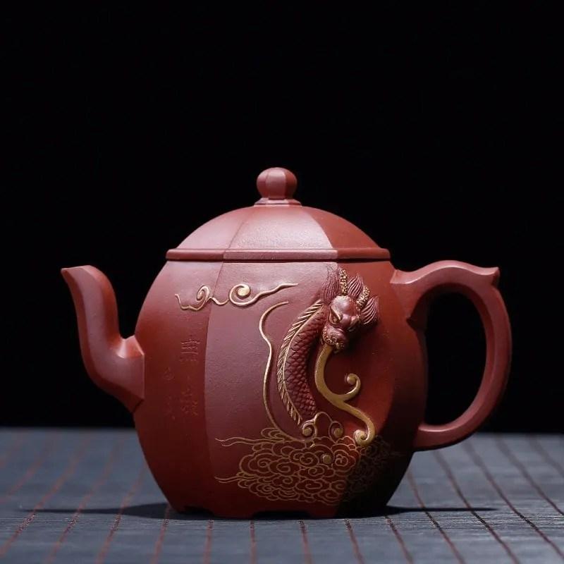 Natural Ore Dragon Decorated Purple Mud Yixing Teapot
