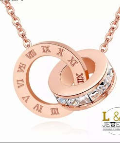 Colier Elegant Numerals Crystal Rose Gold Color