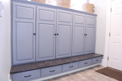 Entryway storage and seating