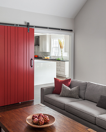 create a unique look with a barn door crafted by Handrahan Remodeling