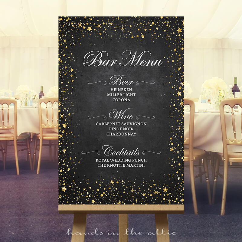 Bar Menu Wedding Sign Starry Night Sky Hands In The Attic