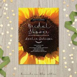 Sunflower burgundy bridal shower invitations gardening flower and sunflower bridal shower invitations fieldstationco filmwisefo Images