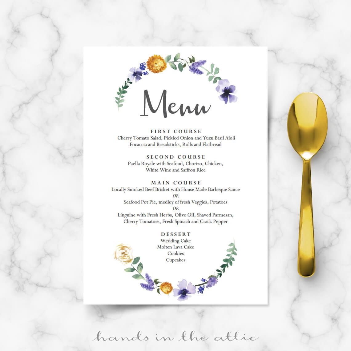 Cheap Wedding Menu Cards
