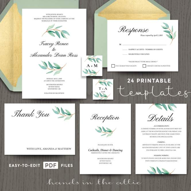Eucalyptus Wedding Invitation Templates