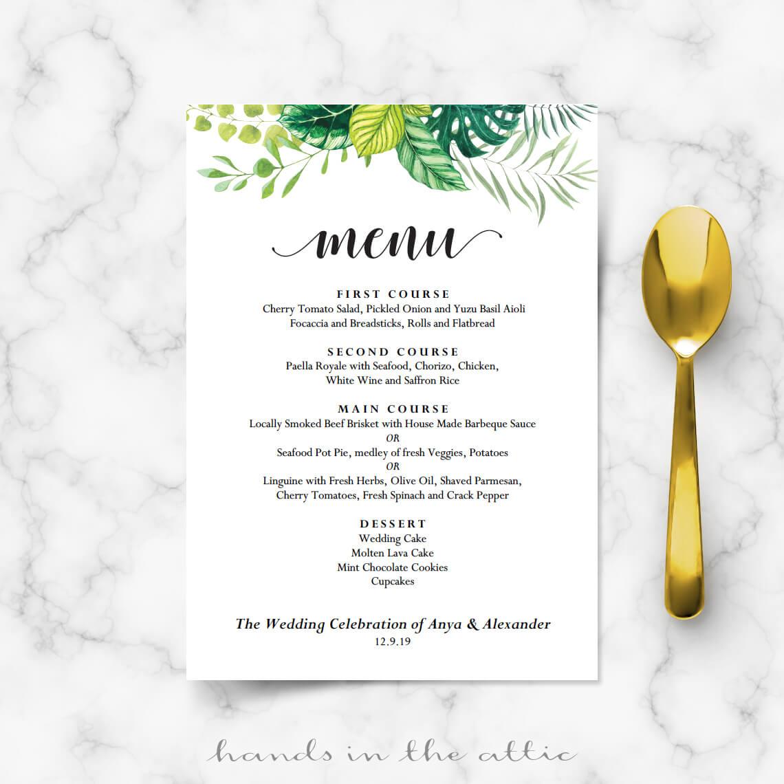 Garden Wedding Menu Printable Templates Hands In The Attic