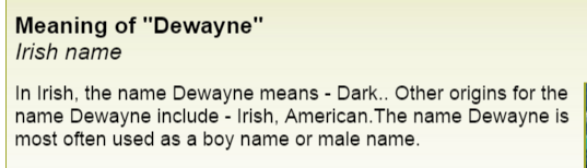 Definition of Dewayne meaning of names dot com